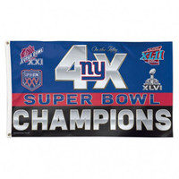 *New York Giants 4 Time Super Bowl Champions 3' x 5' Team Flag