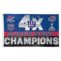 *New York Giants 4 Time Super Bowl Champions 3' x 5' Team Flag