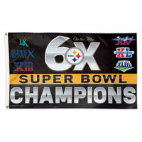 *Pittsburgh Steelers 6 Time Super Bowl Champions 3' x 5' Team Flag