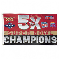 *San Francisco 49ers 5 Time Super Bowl Champions 3' x 5' Team Flag