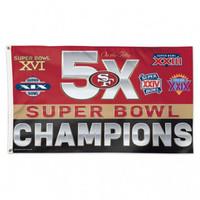 *San Francisco 49ers 5 Time Super Bowl Champions 3' x 5' Team Flag