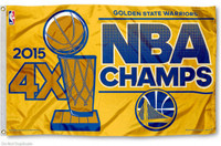 Golden State Warriors 2015 4-Time NBA Champions Team Flag