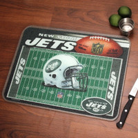 New York Jets Glass Cutting Board