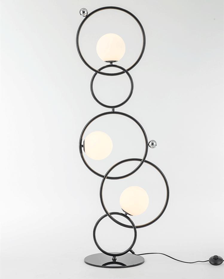 Modern Led Floor Lamp Metal Circular Ring Glass Ball Shade Simple Home Hotel Decor Horizon Lights