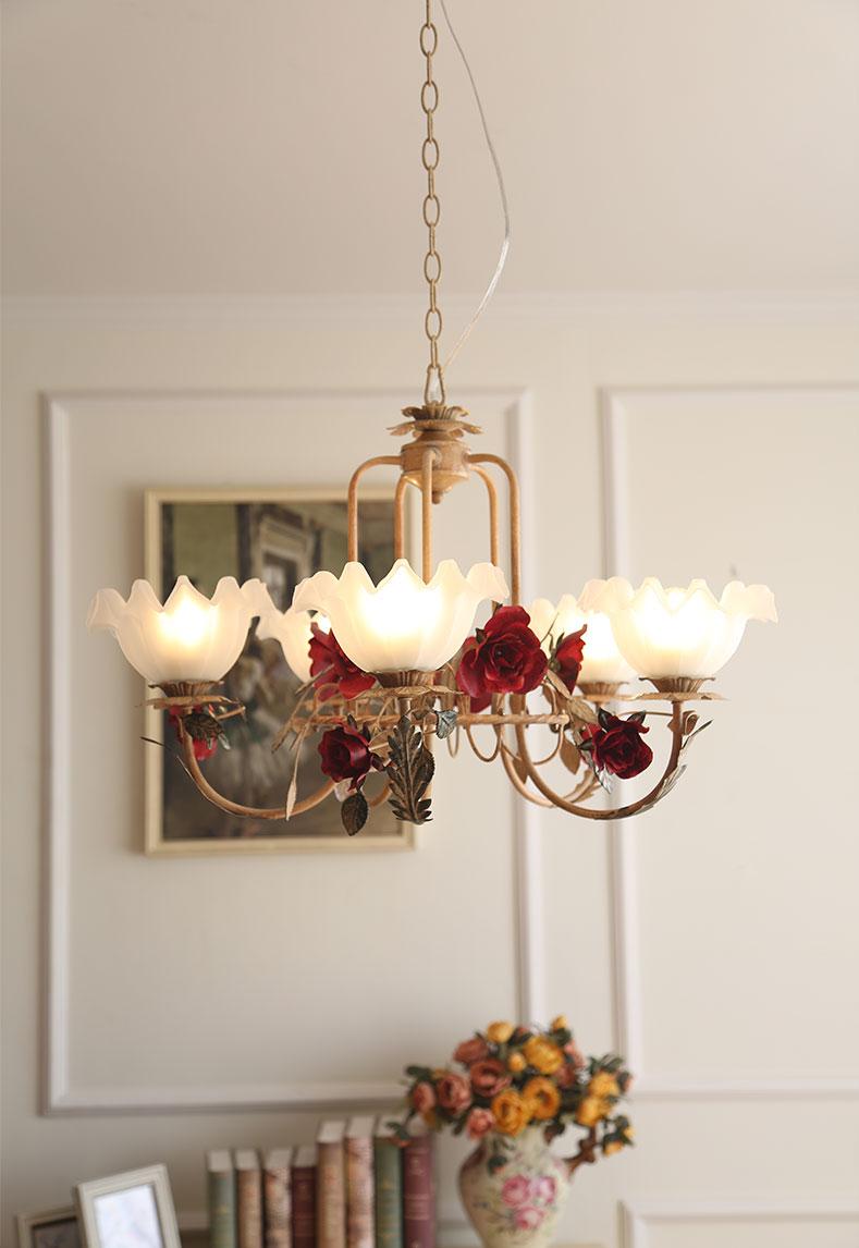American Led Chandelier Light Glass Shade Metal Rose Romantic Living Room Dining Room Decor Horizon Lights