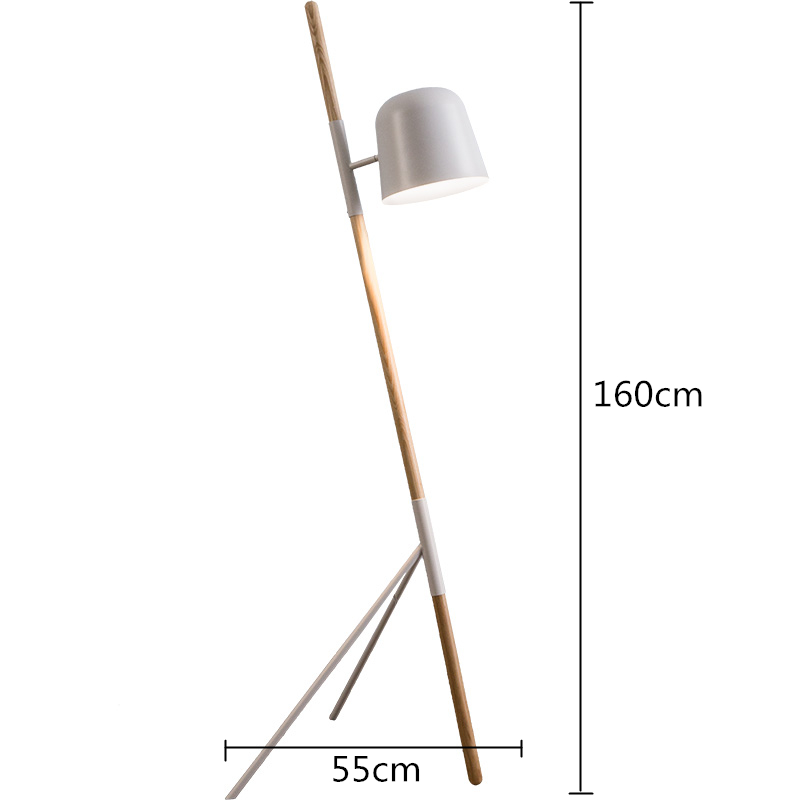 Nordic Led Floor Lamp Metal Shade Wood Tripod Pleasant Bedroom Living Room Decor Horizon Lights