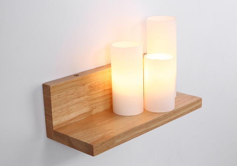 Solid Wood LED Wall Light Modern Minimalist Bedroom Aisle Bedside