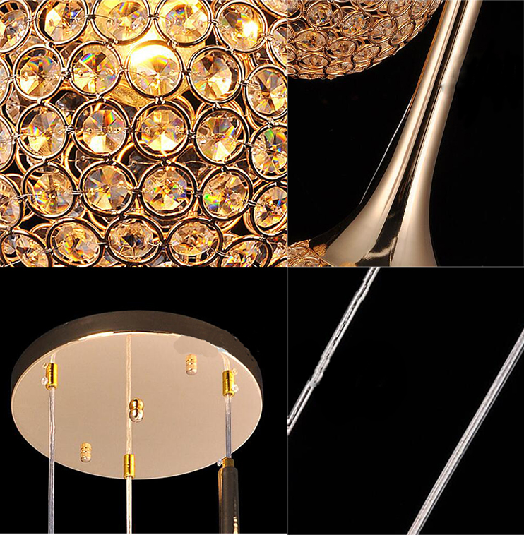 Simple And Modern Gold K9 Crystal Pendant Lights  from Singapore luxury light house Horizon-lights