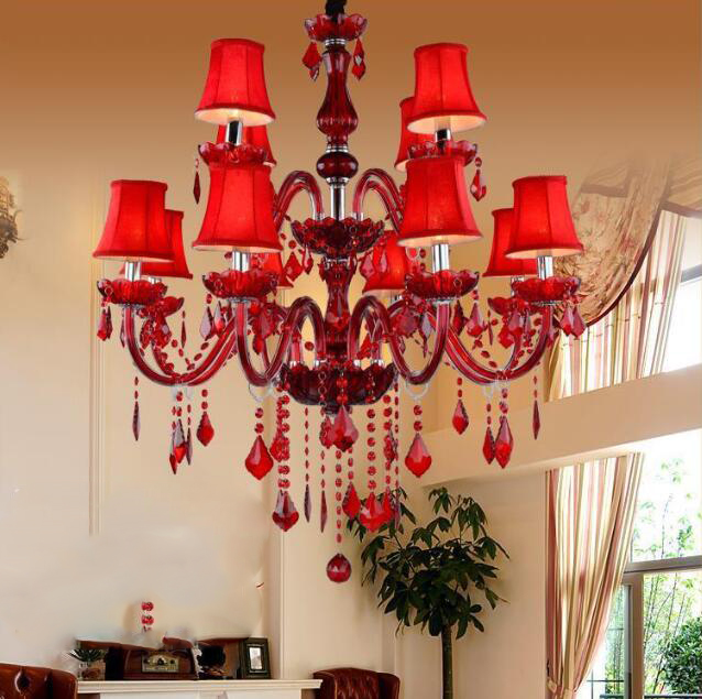 Red Candle Crystal Chandelier;Horizon-lights