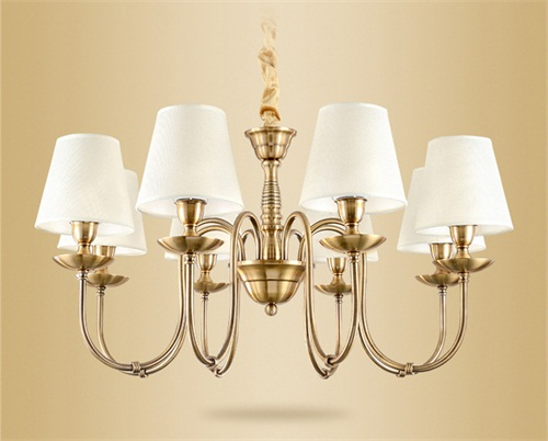 Vintage Chandelier American country style fabric shade iron support from Singapore luxury lighting house horizon lights
