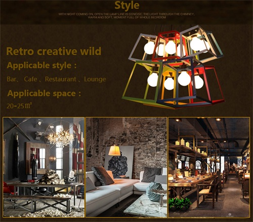 LED Lights Nordic Creative Simple Color Square Personality Chandeliers from Singapore luxury lighting house Horizon-lights.