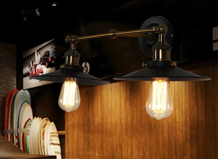 RetroFine Double-headed Small Black Umbrella American Rural Industrial Retro Wall Lamp;Horizon-lights