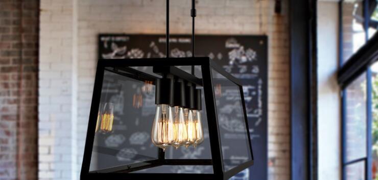 LOFT Retro Wrought Iron Pendant Light Creative Restaurant