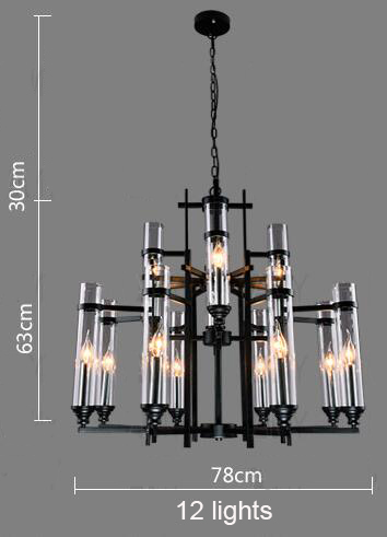 Iron Chandelier LOFT Cafe Personality Art Ceiling Lamp Creative Glass Lighting