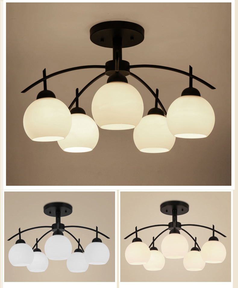 Glass Shade Metal LED Chandelier Light Amercian Style Living Room Decor Horizon Lights