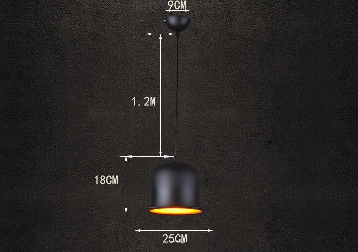 Loft Retro Creative Hat Aluminum Pendant Lighting;Horizon-lights