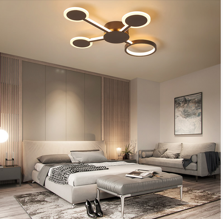 Modern Led Ceiling Light Dimmable Luminous Multi Circles Light Living Room Bedroom Restaurants Horizon Lights