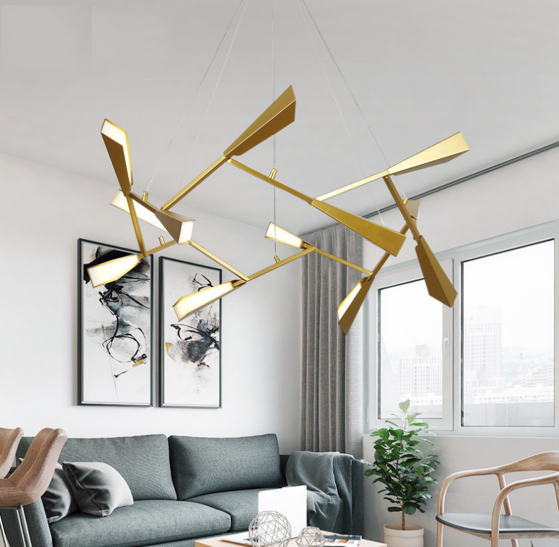 Propeller, Gold Metal Shade LED Chandelier Light Modern Style Living Room Horizon Lights