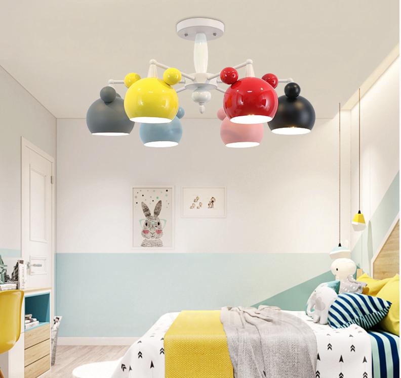 Mickey, Metal Ceramics LED Chandelier Light Modern Children Bedroom Study Room Horizon Lights
