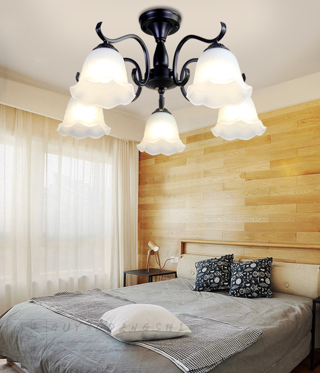 Hotel California, Metal Body Glass Kapok ShadeLED Chandelier Light American Style Living Room Decor