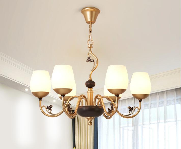 Magnolia Shape Glass Shade Metal Frame LED Chandelier Light American Style Home Decor
