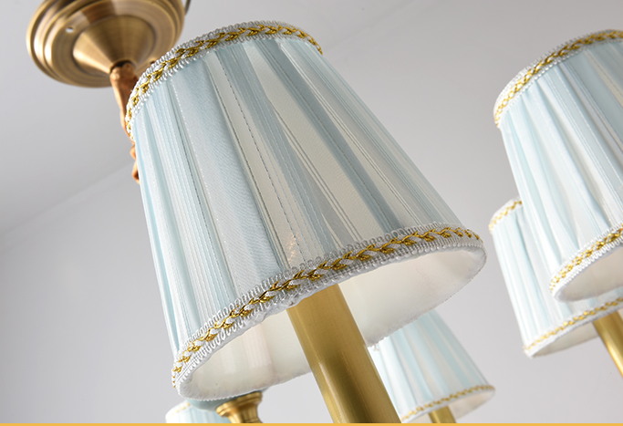 Copper Ceramic Lamp Body Beautiful LED Chandelier Light European style Home Decor