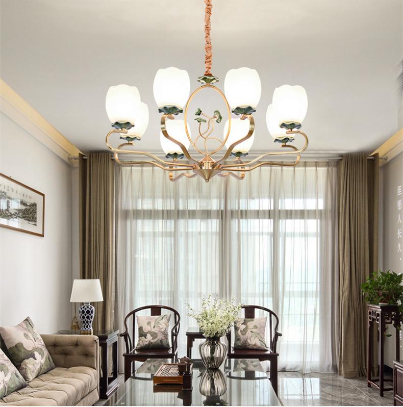 Zen Ceramic Lotus Shade Copper LED Chandelier Light New Chinese Style Living Room Decor