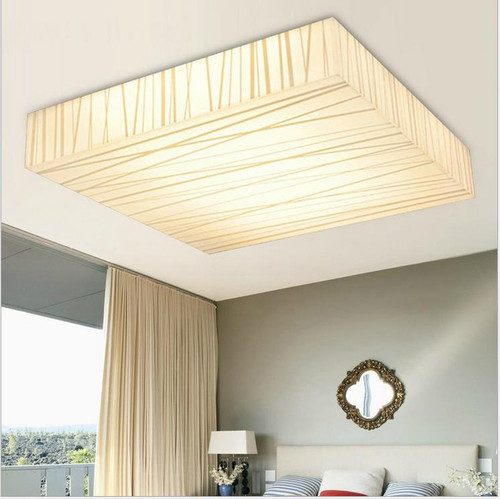 Modern LED Ceiling Lights - Striated Acrylic Square Shape Dimmable Living Room
