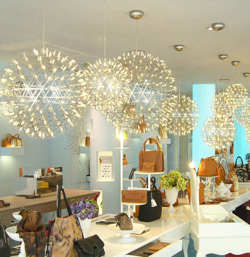 Contemporary Chandelier Spherical Stainless Steel Bar Shade LED lights from Singapore luxury light house Horizon-lights image-1