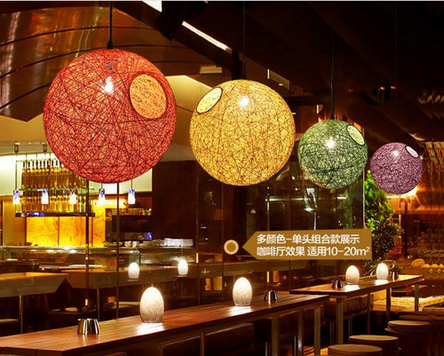 Pendant Light Ratan Hemp Ball shade Phillip E27 bulb from  Singapore luxury lighting store Horizon-lights