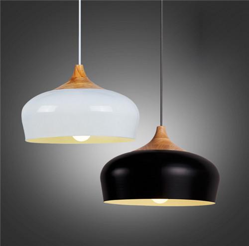 Minimalism Style LED Pendant Light Aluminum Shade Wooden Support Bar from Singapore best online lighting shop horizon lights