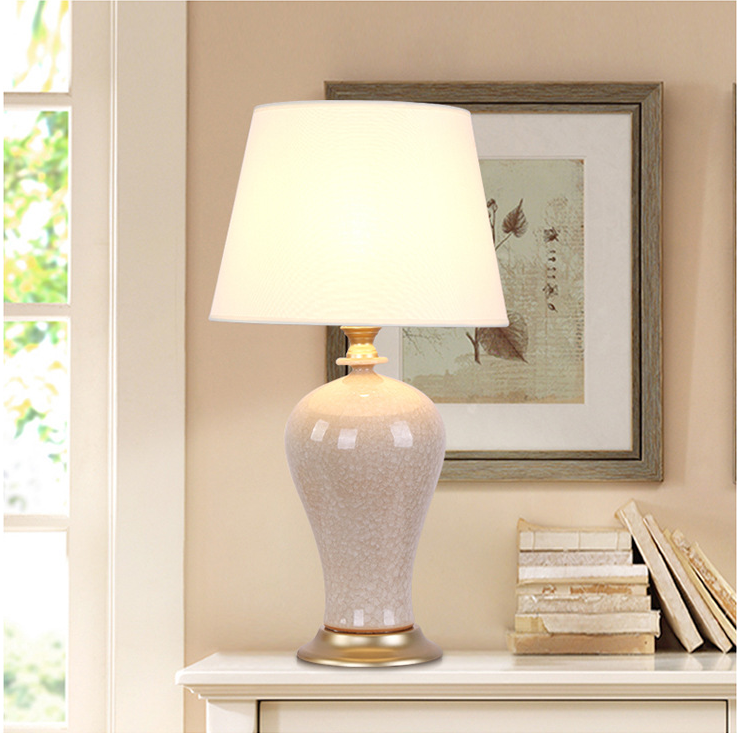 Table Lamp Ceramic Vase Fabric Shade Elegant Phillip Led Bulbs