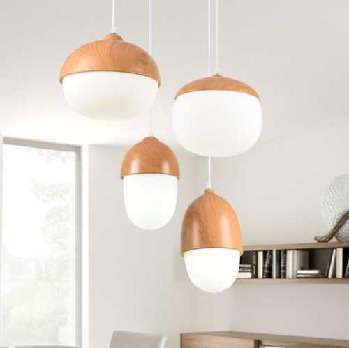 LED Pendant lights with wood Nuts Glass shade from Singapore luxury lighting house Horizon-lights