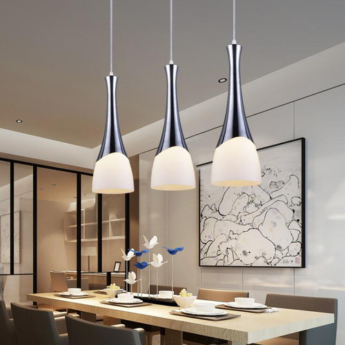 LED Pendant lights Horn Shade stainless support  from Singapore luxury lighting shop Horizon-lights