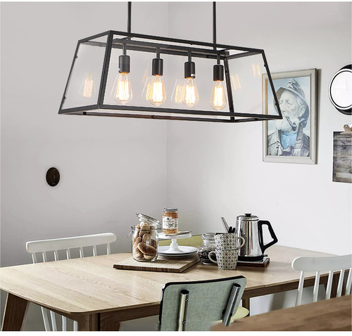 Individual Retro Style LED Pendant Light Metal Frame Glass Shade E27 Dining Room Cafe from Singapore best online lighting shop horizon lights