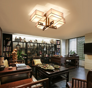 Ancient Hong Kong Lantern, Chinese LED E27 Ceiling Light for Asian and Zen (library)
