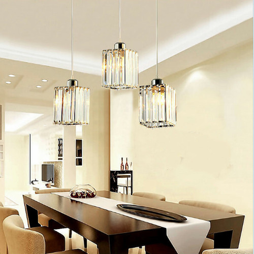 Crystal pendant for restaurant bar counter with three drop-lights from Singapore online luxury lighting shop horizon lights.