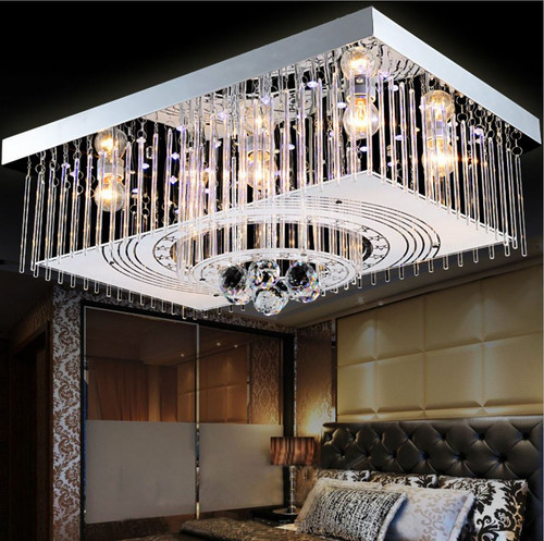 Crystal Led Ceiling Lights Rectangular Modern Style for dining table and hotel lighting from Affordable Luxury Horizon-lights.