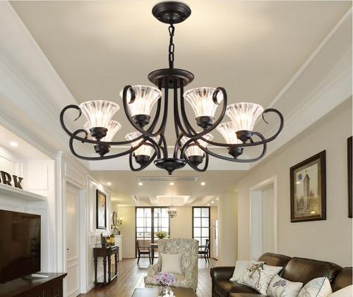 American Retro Style Chandelier Lights Metal Glass Shade Living Room from Singapore best online lighting shop horizon lights