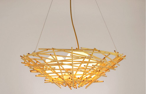 Bamboo Pendant light Bird Nest shade  E27 Phillip LED bulbs from Singapore best online lighting shop horizon lights