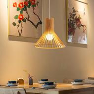 Modern Wood Craft Cage LED Pendant Lamp Dining Room Restaurants