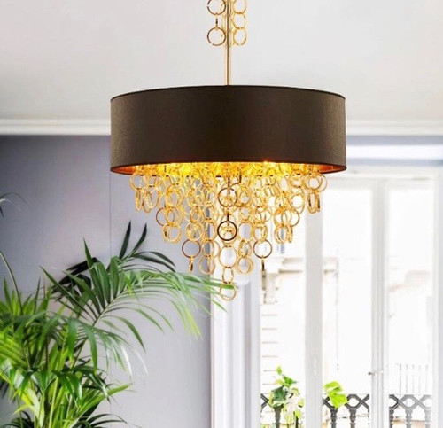 Annular Tassels Art  Chandelier LED pendant lights metal shade bronze ring decoration from Singapore best online lighting shop horizon lights