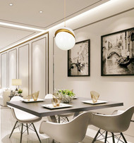 Modern Style LED Chandelier Light Metal Acrylic Two Semicircle Shape Dining Living Room from Singapore best online lighting shop horizon lights