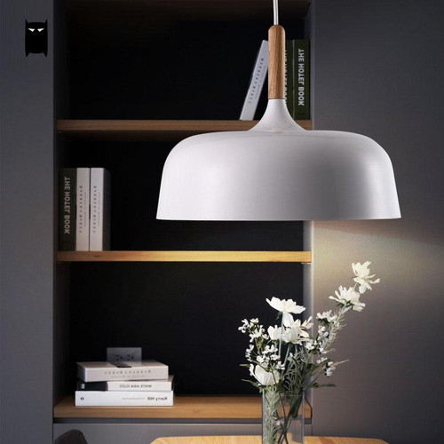 White Acorn Pendant Light Wood Aluminum Shade Modern Nordic from Singapore best online lighting shop horizon lights