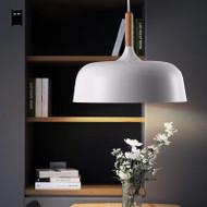White Acorn Pendant Light Wood Aluminum Shade Modern Nordic from Singapore best online lighting shop horizon lights