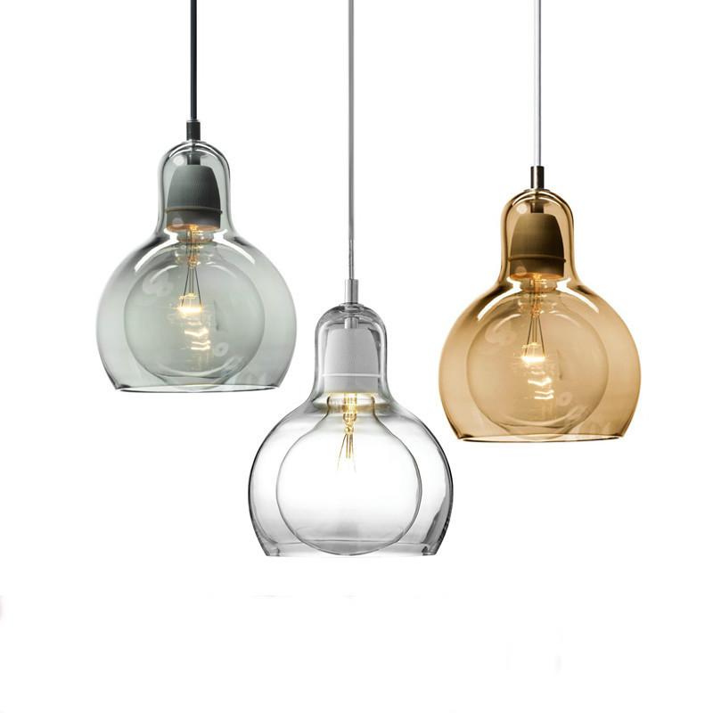 Modern Style Led Pendant Light Glass Shade Simple Dining Room Restaurant