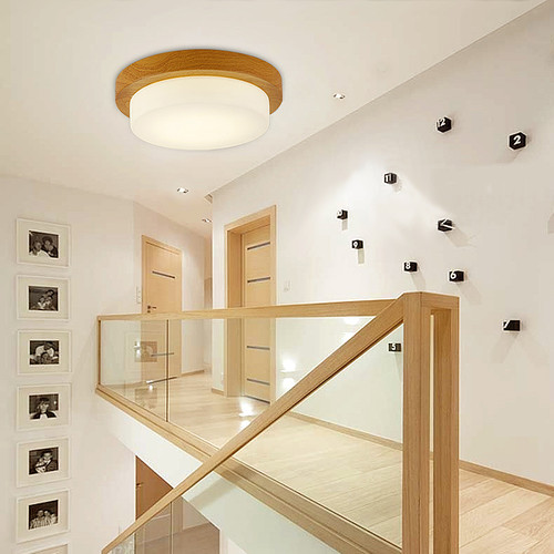 This is the scene picture. Modern LED Ceiling Light Round Glass Shade Wood Light Bedroom Decor from Singapore best online lighting shop horizon lights