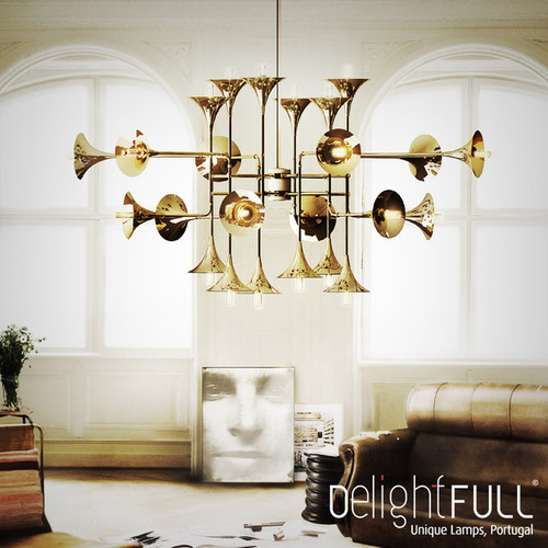 This is the scene picture. Post-modern LED Chandelier Light Unique Metal Trumpet Light Home Decor from Singapore best online lighting shop horizon lights