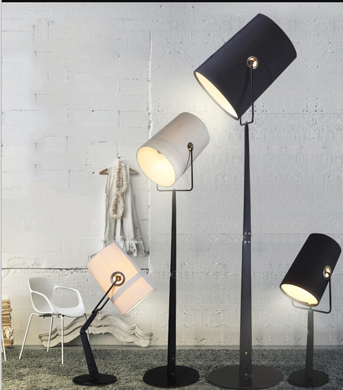 This is the scene picture. Modern Style LED Fork Floor Lamp Cloth Shade Height Adjustable Light from Singapore best online lighting shop horizon lights