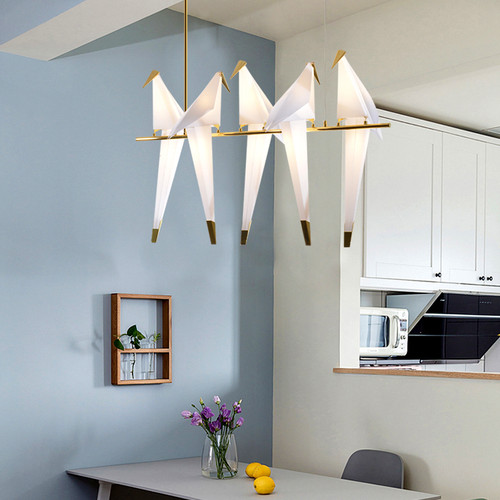 This is the scene picture. Modern Style LED Pendant Light Acrylic Bird Shade Metal Frame Light from Singapore best online lighting shop horizon lights